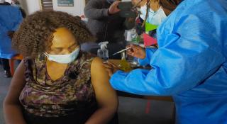 Basic Education Minister Angie Motshekga receiving vaccine dose