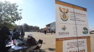 SASSA banner at vaccination centre