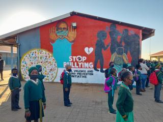 school children standing in line