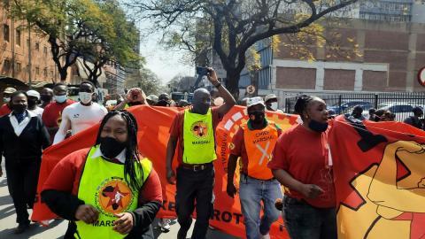 NUMSA members protesting