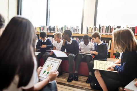 School children in a classroom