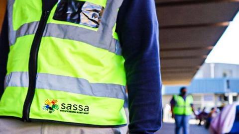 Sassa logo on high visibility jacket