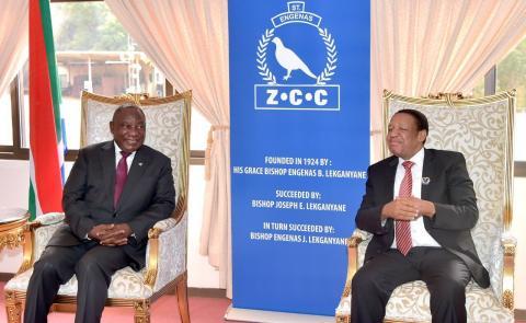 President Cyril Ramaphosa visiting Zion Christian Church