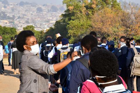 school learners standing in line