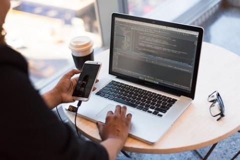 person working online