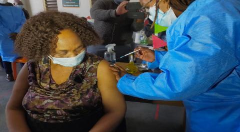 Minister Motshekga receiving vaccine