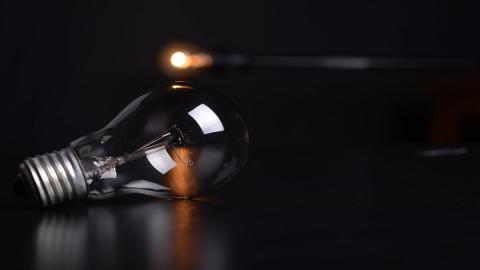 lightbulb on a table