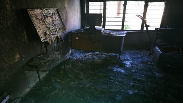 burnt school classroom