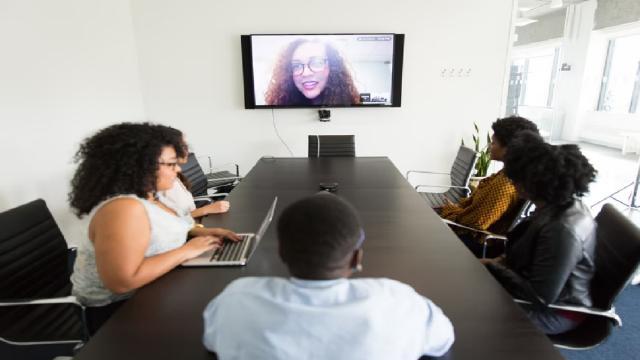 co-workers sitting in virtual meeting